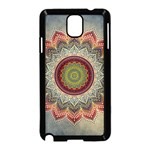 Folk Art Lotus Mandala Dirty Blue Red Samsung Galaxy Note 3 Neo Hardshell Case (Black) Front