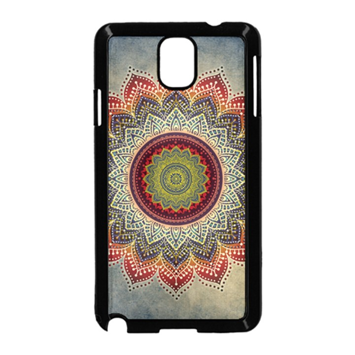 Folk Art Lotus Mandala Dirty Blue Red Samsung Galaxy Note 3 Neo Hardshell Case (Black)