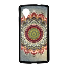 Folk Art Lotus Mandala Dirty Blue Red Nexus 5 Case (Black)