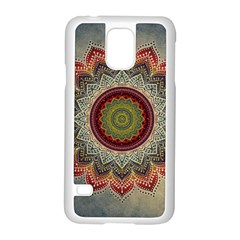 Folk Art Lotus Mandala Dirty Blue Red Samsung Galaxy S5 Case (white)