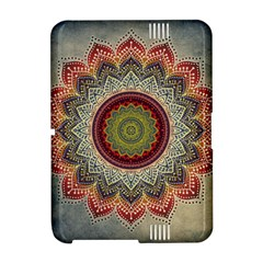 Folk Art Lotus Mandala Dirty Blue Red Amazon Kindle Fire (2012) Hardshell Case