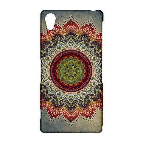 Folk Art Lotus Mandala Dirty Blue Red Sony Xperia Z2