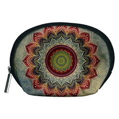 Folk Art Lotus Mandala Dirty Blue Red Accessory Pouches (Medium)
