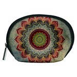 Folk Art Lotus Mandala Dirty Blue Red Accessory Pouches (Medium)  Front
