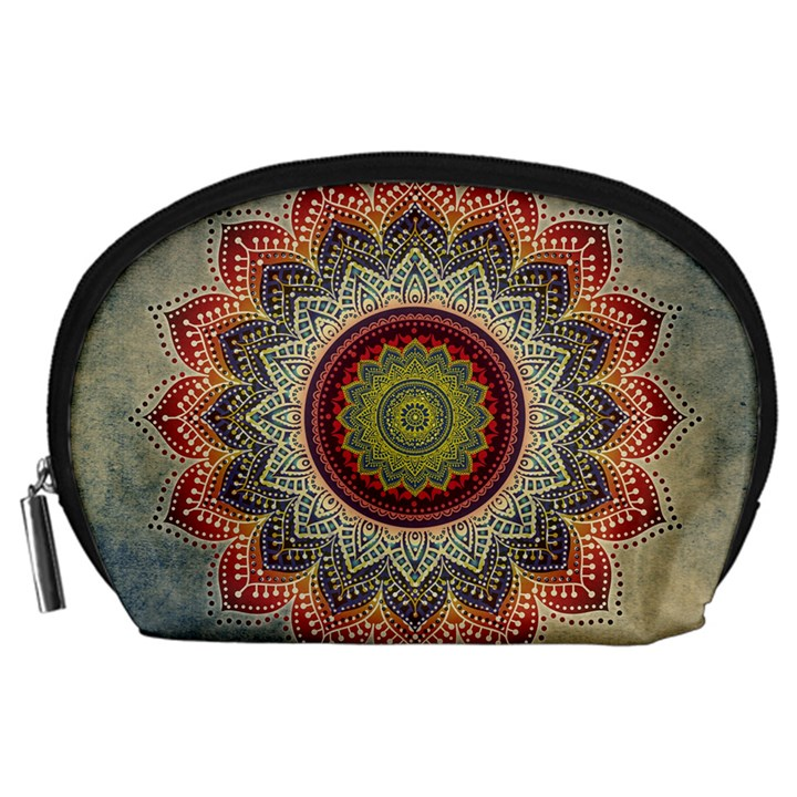 Folk Art Lotus Mandala Dirty Blue Red Accessory Pouches (Large)