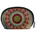 Folk Art Lotus Mandala Dirty Blue Red Accessory Pouches (Large)  Back