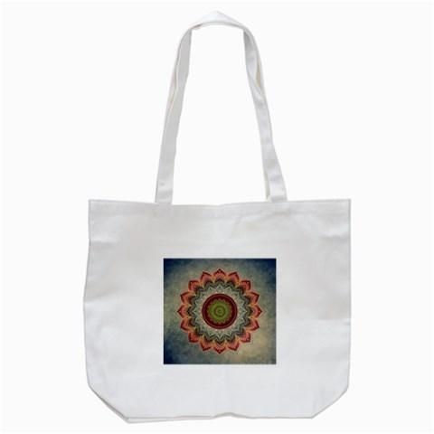 Folk Art Lotus Mandala Dirty Blue Red Tote Bag (White)