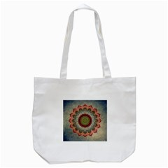 Folk Art Lotus Mandala Dirty Blue Red Tote Bag (White)