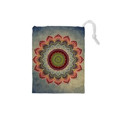 Folk Art Lotus Mandala Dirty Blue Red Drawstring Pouches (small)