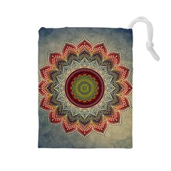 Folk Art Lotus Mandala Dirty Blue Red Drawstring Pouches (large)