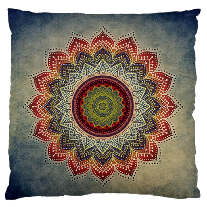 Folk Art Lotus Mandala Dirty Blue Red Large Flano Cushion Case (One Side)