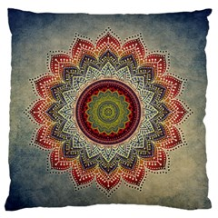 Folk Art Lotus Mandala Dirty Blue Red Large Flano Cushion Case (Two Sides)