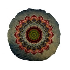 Folk Art Lotus Mandala Dirty Blue Red Standard 15  Premium Flano Round Cushions