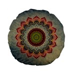 Folk Art Lotus Mandala Dirty Blue Red Standard 15  Premium Flano Round Cushions Back