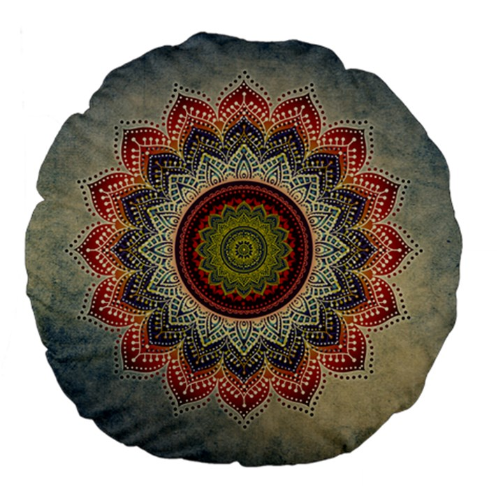 Folk Art Lotus Mandala Dirty Blue Red Large 18  Premium Flano Round Cushions