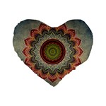 Folk Art Lotus Mandala Dirty Blue Red Standard 16  Premium Flano Heart Shape Cushions Front