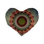 Folk Art Lotus Mandala Dirty Blue Red Standard 16  Premium Flano Heart Shape Cushions Back
