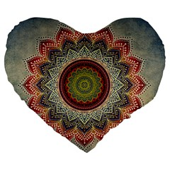 Folk Art Lotus Mandala Dirty Blue Red Large 19  Premium Flano Heart Shape Cushions