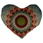 Folk Art Lotus Mandala Dirty Blue Red Large 19  Premium Flano Heart Shape Cushions Front