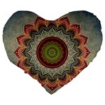 Folk Art Lotus Mandala Dirty Blue Red Large 19  Premium Flano Heart Shape Cushions Back
