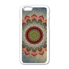 Folk Art Lotus Mandala Dirty Blue Red Apple iPhone 6/6S White Enamel Case