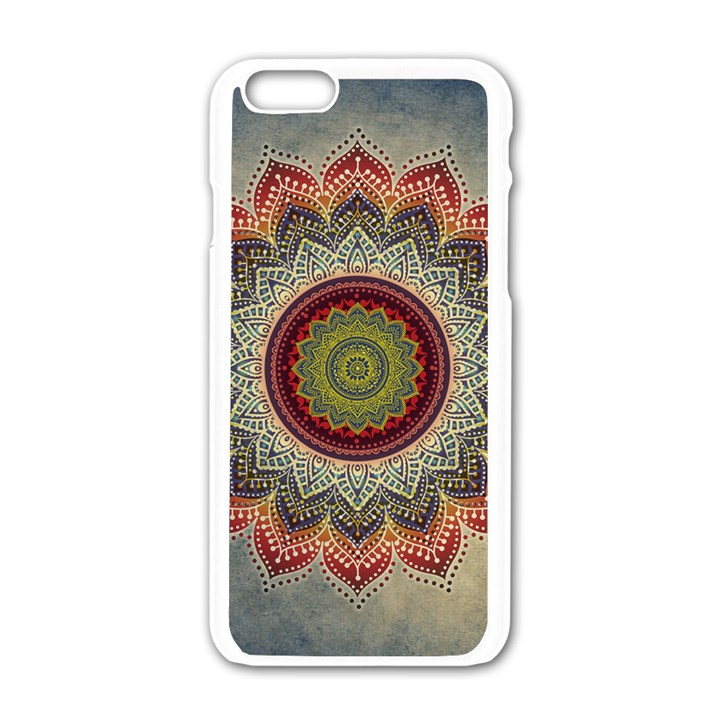 Folk Art Lotus Mandala Dirty Blue Red Apple iPhone 6/6S White Enamel Case