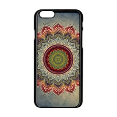 Folk Art Lotus Mandala Dirty Blue Red Apple iPhone 6/6S Black Enamel Case