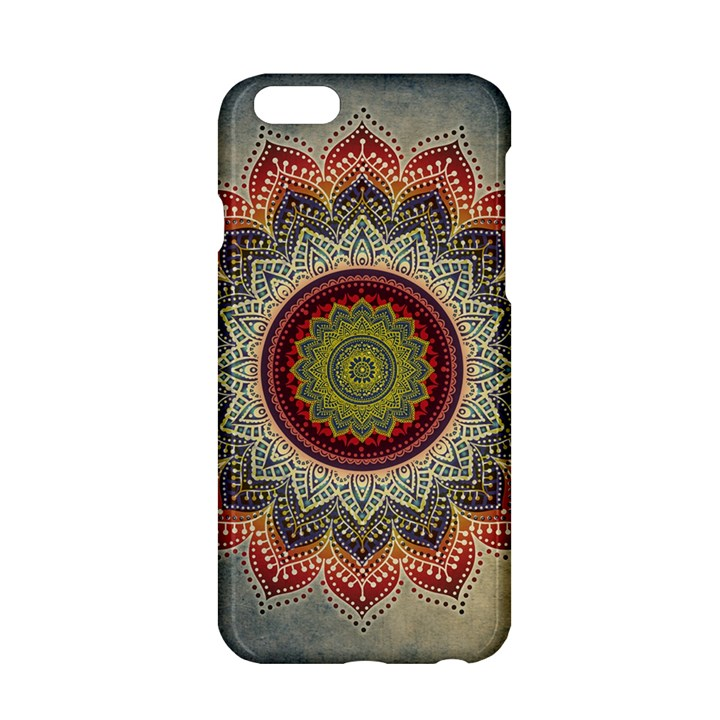 Folk Art Lotus Mandala Dirty Blue Red Apple iPhone 6/6S Hardshell Case