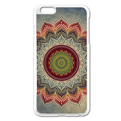 Folk Art Lotus Mandala Dirty Blue Red Apple Iphone 6 Plus/6s Plus Enamel White Case