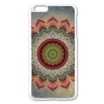 Folk Art Lotus Mandala Dirty Blue Red Apple iPhone 6 Plus/6S Plus Enamel White Case Front
