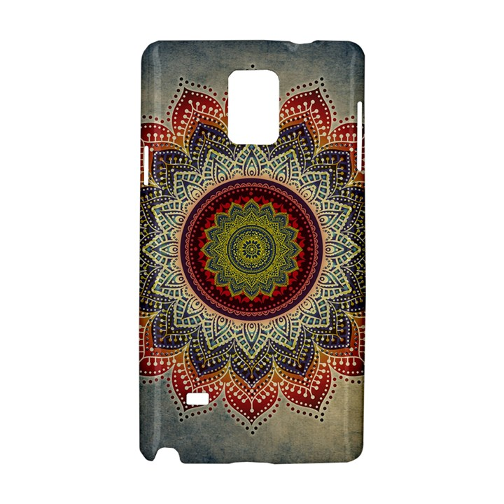 Folk Art Lotus Mandala Dirty Blue Red Samsung Galaxy Note 4 Hardshell Case