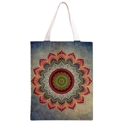 Folk Art Lotus Mandala Dirty Blue Red Classic Light Tote Bag