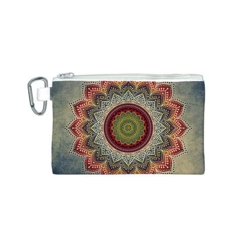 Folk Art Lotus Mandala Dirty Blue Red Canvas Cosmetic Bag (S)