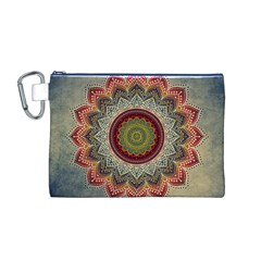 Folk Art Lotus Mandala Dirty Blue Red Canvas Cosmetic Bag (m)
