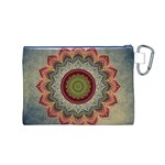Folk Art Lotus Mandala Dirty Blue Red Canvas Cosmetic Bag (M) Back