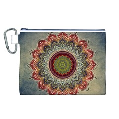 Folk Art Lotus Mandala Dirty Blue Red Canvas Cosmetic Bag (L)