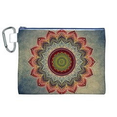 Folk Art Lotus Mandala Dirty Blue Red Canvas Cosmetic Bag (xl)