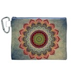 Folk Art Lotus Mandala Dirty Blue Red Canvas Cosmetic Bag (XL) Front