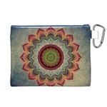 Folk Art Lotus Mandala Dirty Blue Red Canvas Cosmetic Bag (XL) Back
