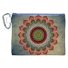 Folk Art Lotus Mandala Dirty Blue Red Canvas Cosmetic Bag (xxl)