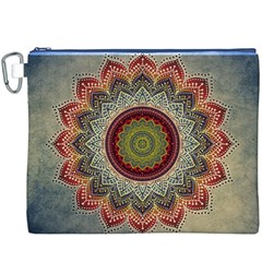 Folk Art Lotus Mandala Dirty Blue Red Canvas Cosmetic Bag (xxxl)