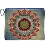 Folk Art Lotus Mandala Dirty Blue Red Canvas Cosmetic Bag (XXXL) Front