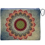 Folk Art Lotus Mandala Dirty Blue Red Canvas Cosmetic Bag (XXXL) Back