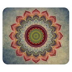 Folk Art Lotus Mandala Dirty Blue Red Double Sided Flano Blanket (small)