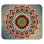 Folk Art Lotus Mandala Dirty Blue Red Double Sided Flano Blanket (Small)  50 x40 Blanket Front