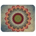 Folk Art Lotus Mandala Dirty Blue Red Double Sided Flano Blanket (Medium)  60 x50 Blanket Front