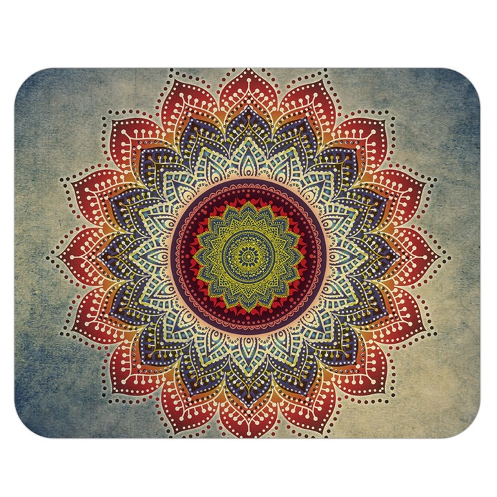 Folk Art Lotus Mandala Dirty Blue Red Double Sided Flano Blanket (Medium)