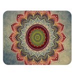 Folk Art Lotus Mandala Dirty Blue Red Double Sided Flano Blanket (Large)  80 x60 Blanket Front