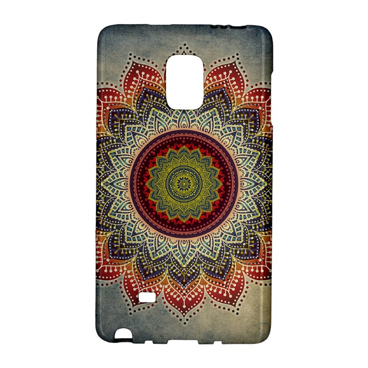 Folk Art Lotus Mandala Dirty Blue Red Galaxy Note Edge