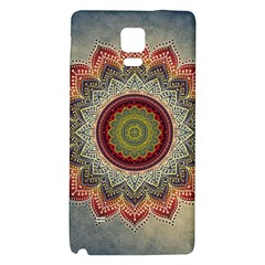 Folk Art Lotus Mandala Dirty Blue Red Galaxy Note 4 Back Case